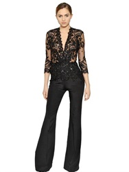 Zuhair Murad Embellished Lace And Crepe Jumpsuit