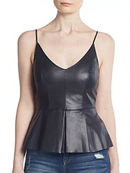 Bailey 44 Opium Poppy Faux Leather Peplum Top Navy