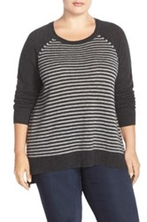 Sejour Wool And Cashmere Scoop Neck Sweater Plus Size Gray