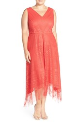 Plus Size Women's London Times Fringe Lace Midi Dress