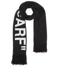 Off White Quote Wool Blend Scarf Black
