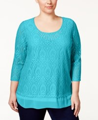 Jm Collection Woman Jm Collection Plus Size Embellished Crocheted Tunic Only At Macy's Turquoise Pool