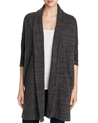 Three Dots Draped Marled Cardigan Charcoal