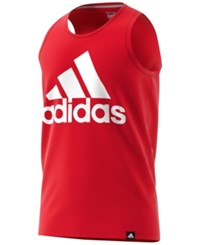 Adidas Men's Logo Tank Top Scarlet White