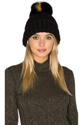 Eugenia Kim Rain Beanie With Fox Fur Pompom Black