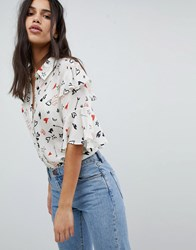 Lily And Lionel Ruffle Shirt In Doodle Print Doodle Chalk White