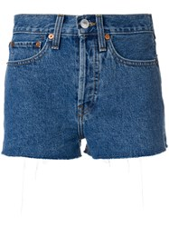 Re Done Raw Edge Shorts Cotton Blue