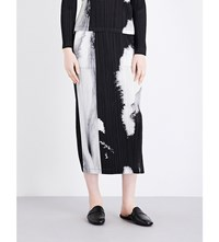 Issey Miyake Pleats Please Tenmoku Pleated Maxi Skirt Black White
