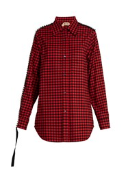 N 21 Embellished Checked Cotton Shirt Red Multi