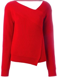 Msgm Wrap Front Sweater Red