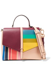Tory Burch Color Block Leather Tote Neutral