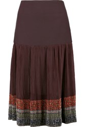 Etro Crepe And Plisse Chiffon Skirt Red
