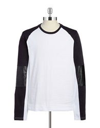 Rogue State Faux Leather Raglan Tee White