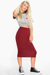 Boohoo Jersey Bodycon Midi Skirt Berry
