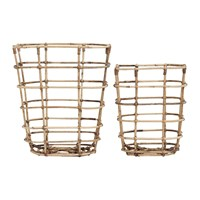 House Doctor Open Square Baskets Set Of 2 Rattan