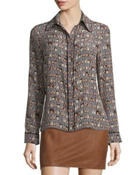 Alice Olivia Alfie Long Sleeve Silk Owl Blouse Multicolor Multi Colors