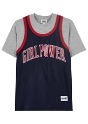 Vfiles Sport Plus Girl Power Navy Satin Jersey T Shirt