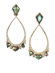 Alexis Bittar Miss Havisham Liquid Black Mother Of Pearl And Crystal Clip On Teardrop Earrings Gold Green