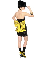 Moschino Bow On Duchesse Bustier Dress Black Yellow