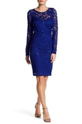 Sequin Hearts Long Sleeve Lace Cocktail Dress Blue
