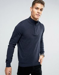Celio Cotton Mix Knit With Zip High Neck Heather Navy