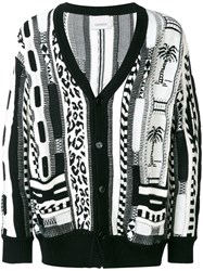 Laneus Abstract Print Cardigan White