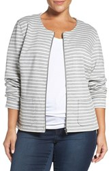 Sejour Plus Size Women's Stripe Knit Jacket