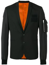 Les Hommes Zipped Pocket Applique Blazer Black