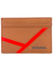 Diesel Cardholder Wallet Men Calf Leather Polyester One Size Nude Neutrals