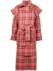 Zimmermann Checked Trench Coat Pink And Purple