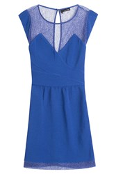 The Kooples Sheer Panel Sheath Dress Blue