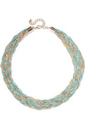 Kenneth Jay Lane Gold Tone And Cord Necklace Turquoise
