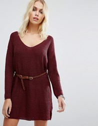 Goldie No Other Way Knitted Jumper Dress With Belt Maroon Red