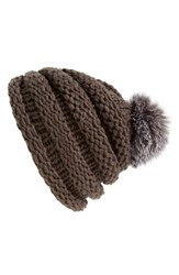 Women's Dena Genuine Fox Fur Pompom Knit Beanie Grey Charcoal