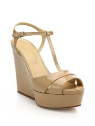 Sergio Rossi Edwige Patent Leather T Strap Wedge Sandals