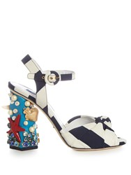 Dolce And Gabbana Under The Sea Embellished Sandals Blue Stripe