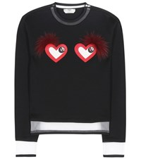 Fendi Leather And Fur Embellished Sweatshirt Black