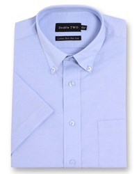 Double Two Men's Short Sleeved Non Iron Button Down Oxford Shirt Blue