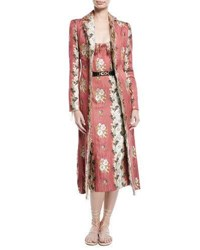 Brock Collection Carolyn Floral Wallpaper Jacquard Belted Fitted Coat W Raw Edges Red Pattern