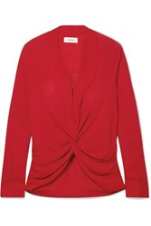 L'agence Mariposa Twisted Silk Crepe De Chine Blouse Red