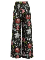 Adam By Adam Lippes Floral Jacquard Wide Leg Trousers Black Multi