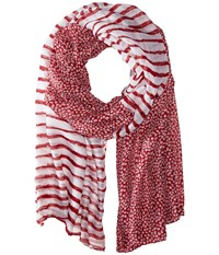 San Diego Hat Company Bss1551 Lightweight Scarf With Split Stripe And Dot Print Deep Red Scarves
