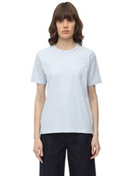 J.W.Anderson Jwa Logo Embroidered Cotton T Shirt Light Blue