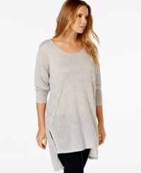 Eyeshadow Plus Size Lace Panel Hi Low Tunic Heather Gray