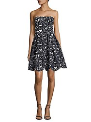 Maggy London Bonded Mesh Floral Fit And Flare Dress Navy White