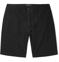 The Workers Club Washed Cotton And Nylon Blend Shorts Black