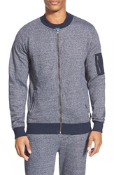 Bellfield Zip Baseball Sweatshirt Navy Snow Marl