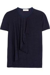 Tory Burch Tabia Ruffled Silk And Cashmere Blend Sweater Midnight Blue