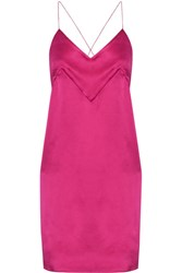 Michael Lo Sordo Silk Satin Mini Dress Bright Pink