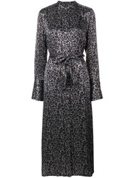 Equipment Connell Leopard Print Maxi Dress Grey